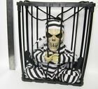 skeleton Screaming prison in a Cage with Lights Talking Halloween Decoration 03U