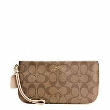 NEW Coach 65748 Khaki Platinum Signature PVC Large Wristlet Wallet $125 NWT