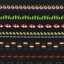 Michael Miller Bento Box DC7463 Lacquer Sushi Stripe BTY Cotton Fabric