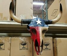 "Western resin cow skull w Texas Flag design  20"" × 12"" home decor"