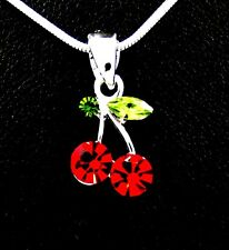 New Red Cherry Austrian Crystal Pendant Charm Chain Necklace Cherries