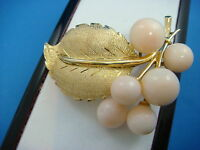!EXQUISITE 18K GOLD AND ANGEL PINK CORAL VINTAGE HANDMADE BROOCH 17.7 GRAMS
