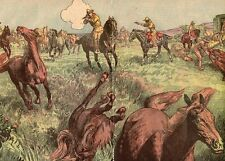 USA OREGON IDAHO WASHINGTON CHASSE AUX CHEVAUX SAVON 1926 HORSE HUNT OLD PRINT