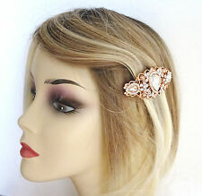 Beautiful Vintage Filigree Rose Gold Tone Barrette Spring Hair Clip Grip Crystal