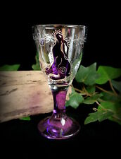 Hand Decorated Witches Glass Chalice with Moon Gazing Hare  Wicca Pagan Altar