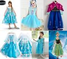 Kids Costume Cosplay Party Fancy Chic Gown Dress Princess Frozen Elsa Anna 3-8Y