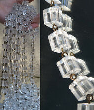 1FT glass beads prism chain strand part brass pins chandelier lamp cube macaroni