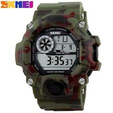 UK Mens XL Green Tactical Military Shock Proof Led Digital Sports Watch By Skmei