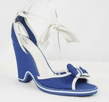 MARC JACOBS Womens Blue/White High Heel Pump Wedge Ankle Wrap Sandal Shoe 10-40