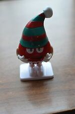 M&M Christmas candy container~dispenser~plastic~detachable hat~Red M&Ms figurine