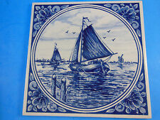 """Beautiful 6"""" DELFT Blue tile with Sail Boat Made in HOLLAND has G on back"""