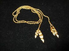 Signed Monet Necklace Strand String Chain Feather Leaf Vintage Antique Gold Tone