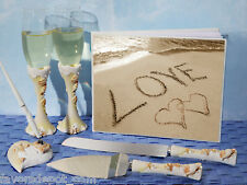 Love on the Beach Wedding Set Guest Book Toasting Flutes Cake Knife Server