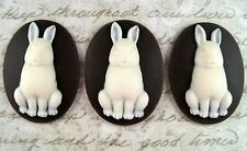 40x30mm Bunny Cameos (3) - L633 Jewelry Finding