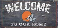 """Cleveland Browns Welcome to our Home Wood Sign - 12"""" x 6""""  Decoration Gift"""