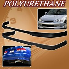 FOR 99-00 CIVIC 2DR 4DR T-R URETHANE PU FRONT REAR BUMPER LIP SPOILER BODY KIT