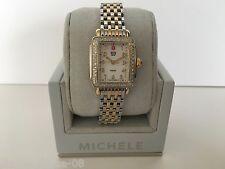 NEW MICHELE DECO MINI TWO-TONE DIAMOND MOP DIAL LADIES WATCH MW06001C5025