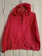 LL Bean Woman Orange Packable Raincoat Size M Windbreaker Hood Light Stowaway
