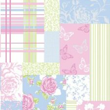 Coloroll Pollyanna Patchwork Floral Feature Wallpaper Green / Blue / Pink