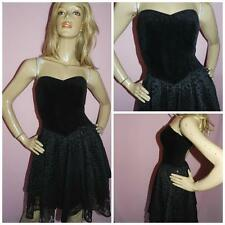 80s BLACK VELVET GLAM GOTH PROM PARTY DRESS 8-10 S 1980s KITSCH HEN PARTY