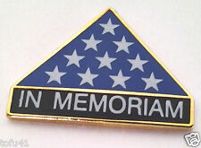 IN MEMORIAM   FOLDED FLAG   Military Veteran  Hero Hat Pin 14365 HO