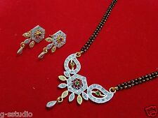 22k gold and silver plated rudy  design ad mangalsutra pendant with earrings