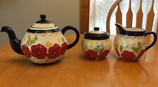 Dutch Wax Teapot With Milk & Sugar Dishes. Red, Blue And White. New.