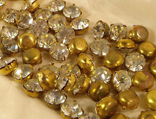 72 vintage clear glass round stones in gold color metal settings SS 48 Japan