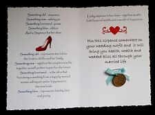 Lucky Sixpence Wedding Card for the Bride to be A6 card Genuine Sixpence