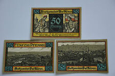 BAD KOSEN NOTGELD 3x 50 PFENNIG 1921 EMERGENCY MONEY GERMANY-GERMAN NOTES (6544)