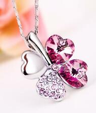 New Silver Flower Pendant with Pink Swarovski Crystals Chain Necklace Jewelry