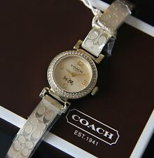 COACH Madison Gold Stainless Steel Signature Bangle Bracelet Watch 14502202 NWT