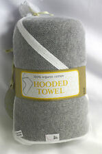 Burts Bees Baby Towel Gray Grey hooded solid organic cotton 29 X 29 inch square