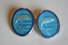 Tiffany & Co. vintage sterling silver and vitreous enamel cufflinks