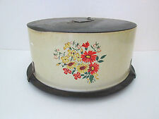 Vtg 50's Decoware metal cake plate carrier taker saver yellow red flowers