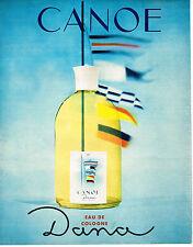 PUBLICITE ADVERTISING  1964   DANA  eau de Cologne  CANOE