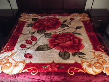 ☀️NEW! 11 POUNDS! HEAVY 2PLY SOFT QUEEN KOREAN STYLE MINK BLANKET RED FLOWERS