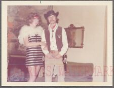 Vintage Photo Cowboy Man & Flapper Girl in Halloween Costumes 742160