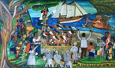 """""""Annual Offering"""" by André Pierre - c. 1965 - Naive Haitian Art - 40 in x 24 in"""