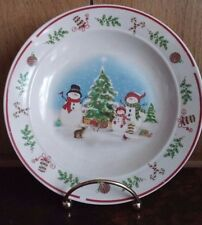 "Holiday Snowman Family 6.5"" Dessert Plate Christmas Tree Candy Cane Holly Snow"