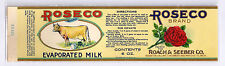 Roseco Evaporated Milk Original Vintage Can Label 6oz Cow Rose Litho Michigan