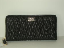 Coach Madison Twist Leather Accordion Zip Around Wallet F49609 LI Black