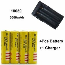 4pcs 5000mAh 18650 3.7V Rechargeable Li-ion Battery + Charger For Flashlight