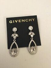 GIVENCHY Earrings pave crystal  Silver Tone tear drop nwt $58  item 98A