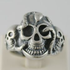 SOLID 925 BURNISHED SILVER BAND BIG SKULL SNAKE RING VINTAGE STYLE MADE IN ITALY