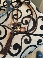 NWT MILLY Brown Silk Rope Tassel Clear Resin Wood Charm Pendant Necklace