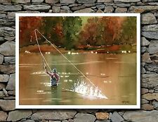 "Fly Fishing - ""Hooked Up III"" - Watercolor Art Print by Artist DJ Rogers"