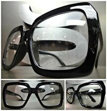 HUGE OVERSIZE 70s VINTAGE Style Clear Lens EYE GLASSES Thick Black Fashion Frame