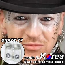 BLACK eye color contacts lenses Crazy Halloween Cosmetic Makeup Cosplay - CRY77I