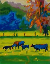 Cows in a Texas Field at Sunset oil Painting by Bertram Poole